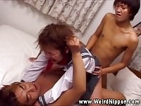 Japanese schoolgirl fucked by two of her teachers